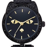 Women's kate spade new york cat dial leather strap watch, 26mm - Black