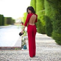 AA01 Long Sleeve Embellished Red Rompers Autumn Party O-Neck Sexy Backless Bodysuit  Womens Jumpsuit