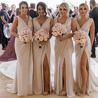 Sexy Chiffon Bridesmaid Dresses with Slit, Bridesmaid Dress For Wedding BM0015