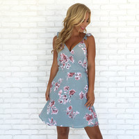 First Bloom Floral Wrap Dress in Blue