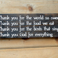 Thank you blessing wood sign - rustic wall decor,dining room,dinner grace,home decor,stained pine, grateful, blessed, thankful, thanksgiving
