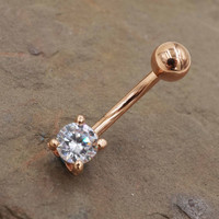 Crystal Rose Gold Belly Button Ring