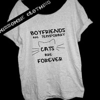 CATS are forever Off The Shoulder, Over sized, street style slouchy, loose fitting, graphic tee, mizzombie grunge