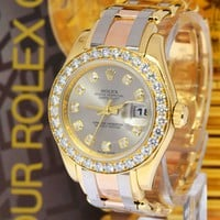 Rolex Pearlmaster Tridor 18K Gold & Diamond Watch Z Box/Papers 80298
