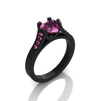 AMAZING 3.20CT PINK HEART CUT 925 STERLING SILVER ENGAGEMENT AND WEDDING RING