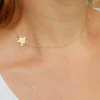 Dainty gold sideways star necklace, 14 kt gold filled off center personalised initial monogram everyday minimalist delicate necklace gift