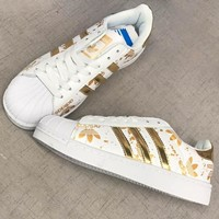 ADIDAS Superstar Print More Logo Shell Cap Top Sport Shoes Gold
