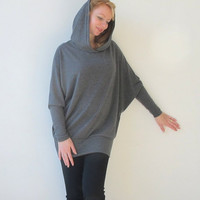 Maternity tunic Gray tunic with hood style custom made all size