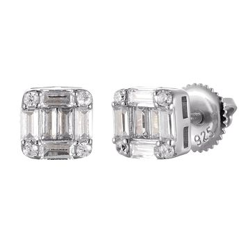 Square Shape Baguette Micro Pave Silver Screw Back Earrings