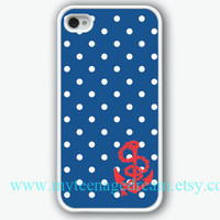 iphone 4 case, iPhone Case, iPhone 4s Case, iphone case 4s, Nautical Navy dot With Anchor, white Hard Case for  iphone 4, iphone 4S