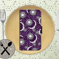 Sun And Moon And Stars Purple Pattern Tumblr Inspired Cute Wallet Phone Case iPhone 4/4s and iPhone 5 and 5s and 5c iPhone 6 and 6 Plus +