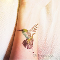 Humming bird tattoo illustration colored - InknArt Temporary Tattoo Set - pack tattoo quote wrist ankle body sticker anchor fake tattoo