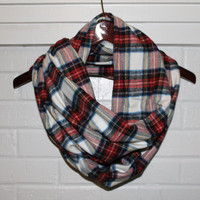 Classic Plaid Flannel Infinity Scarf - White, Colorful, Circle or Tube Scarf, warm, soft, trendy, basic, fall, winter, christmas, gift