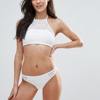 New Look Crochet Halter Bikini Top at asos.com