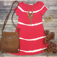 As the Night Changes Tunic Dress: Coral
