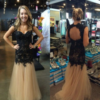 Black Beaded Lace Bodice Homecoming Dresses pst0213