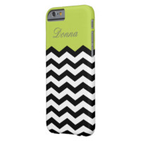 Monogram Black & White Tender Shoots Green Chevron Barely There iPhone 6 Case