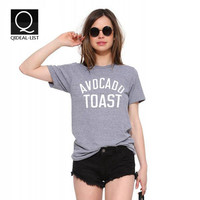 Qideal-L 2016 New Summer Style Brief European Avocado Toast Letter Print T Shirt Women Tops  Short Sleeve Casual Tee Shirt femme