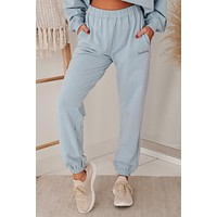 Just A Homebody Embroidered Joggers (Baby Blue)