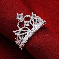 Women 925 Silver Plated Princess Wedding Band Zircon Crown Ring Jewe fc
