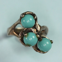 Vintage Sterling Ring Modernist Faux Turquoise Mexican