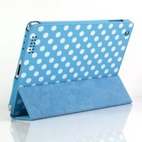 Blue and White Polka Dot Pattern PU Leather Flip Stand Case / Cover / Skin / Shell for Apple iPad 2 / iPad 3 / The New iPad+Free Screen Protector(1908-2)