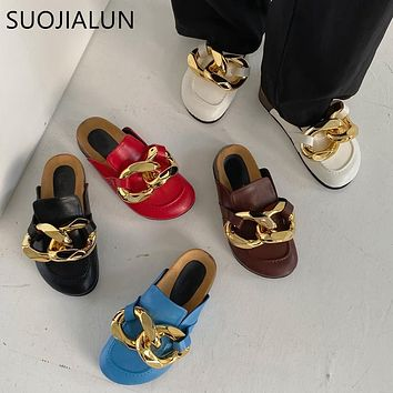 SUOJIALUN  New Brand Design Gold Chain Women Slipper Closed Toe Slip On Mules Shoes Round Toe Low Heels Casual Slides Flip Flop