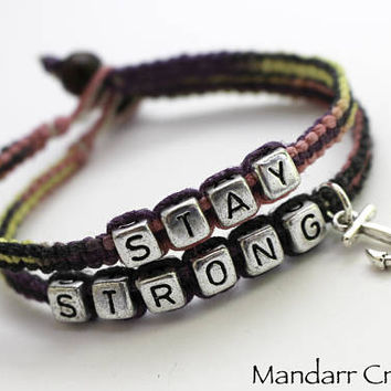 Stay Strong Macrame Hemp Bracelets with Anchor Charm, Recovery Gift for Her in Flirt Hemp Cord, Eco Friendly Accessory