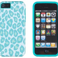 DandyCase 2in1 Hybrid High Impact Hard Sea Green Leopard Pattern + Sea Green Silicone Case Case Cover For Apple iPhone 5S & iPhone 5 (not 5C) + DandyCase Screen Cleaner