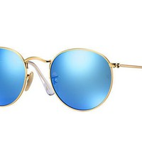 Ray Ban Round Sunglass Matte Gold Blue Polarized Mirrored RB 3447 112/4L