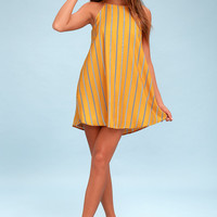 Sweet Little Lines Golden Yellow Striped Shift Dress
