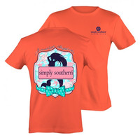 Simply Southern Preppy Mermaid Anchor Bow Wishes Coral Bright T-Shirt