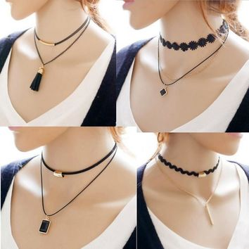 Jewelry New Arrival Gift Shiny Accessory Stylish Metal Lace Floral Necklace [10467600020]