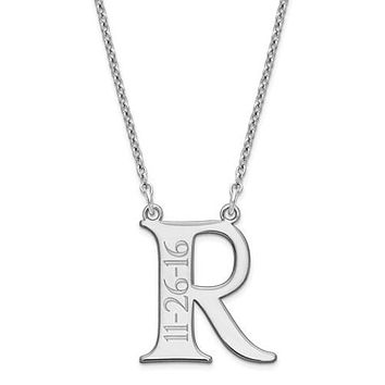 Personalized Initial and Engraved Date Necklace