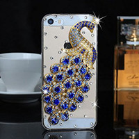 """iPhone 6 Case, MC Fashion Peacock Crystal Rhinestone 3D Diamante Hard Shell Phone Case Compatible for Apple iPhone 6 4.7"""" (2014) ONLY (Blue)"""