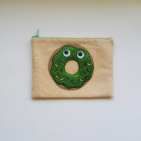 Funny Donut, Zip Purse, Makeup Bag, Coin Purse, Small Accessory Pouch ,Cigarette Cases,Cosmetic Bag,Credit Card CaseFREE SHIPPING