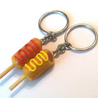 Best Friends Corn Dog Key Chains, Polymer Clay, Food Accessories