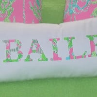New NAME pillow made with Lilly Pulitzer Palm Tree, Anchor, Seahorse and Your choice of over 65 different fabrics to choose from