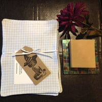 Set of 5 cloth cotton flannel wipes. Lt. blue gingham, checkered, denim blue, cotton, flannel, personal cloths, wipes