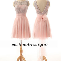 Pink bridesmaid dress,handmade beading tulle pink bridesmaid dress,cap sleeve wedding party dress,short prom dress
