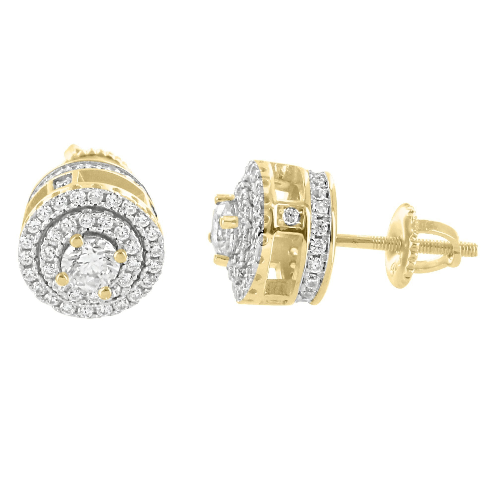 Image of 14k Gold Finish Solitaire Prong Side  Silver Earrings