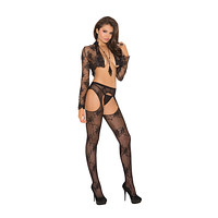 Elegant Moments Lace Suspender Pantyhose