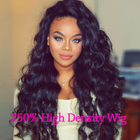 250% Full Lace Human Hair Wigs With Baby Hair Lace Frontal Wig Brazilian Curly Loose Wave Front Lace Wigs Front Human Hair Wigs