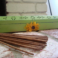 Green Apple Painted Incense Burner/Coffin with Sunflower. Ash Catcher/Cone Holder. Country Cottage