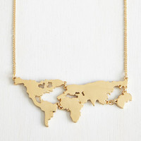 Gold Plated World Map Pendant Long Strip Necklaces Statement Choker Necklace
