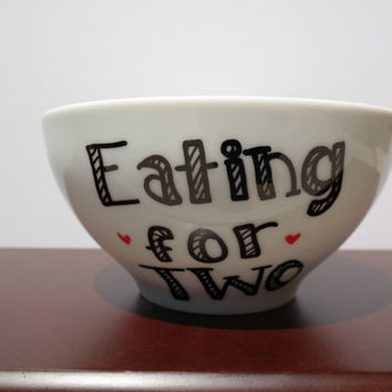 Eating for Two Bowl,  Pregnancy Announcement, Baby Shower Gift, New Parents Gift, Gift for New Mom, Going to be a Father, Baby Registry