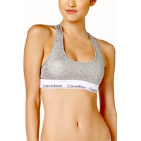 Calvin Klein Heather-Grey/Silver-Foil Modern Cotton Bralette