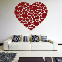 Vinyl Wall Decal Hearts in a Heart Shape / Romantic Print Art Decor Sticker / Home Love Couple DIY Removable Mural + Free Random Decal Gift!