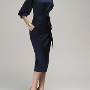 New Women Summer Casual Office Career Lady Formal Party Evening Work Cocktail Midi Navy Blue Dress