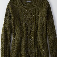 AEO Women's Studded Pullover Sweater (Olive)